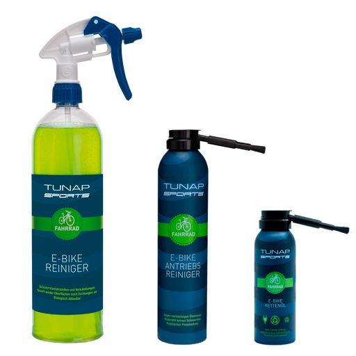 E-bike cleaning and care kit cleaner, drivetrain cleaner and chain lube